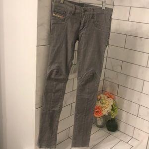 Diesel Moto style grey jean legging